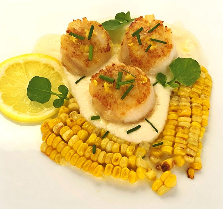 Seared Sea Scallops With Creamy Turnip Puree, Lemon Cream Sauce, Corn & Watercress
