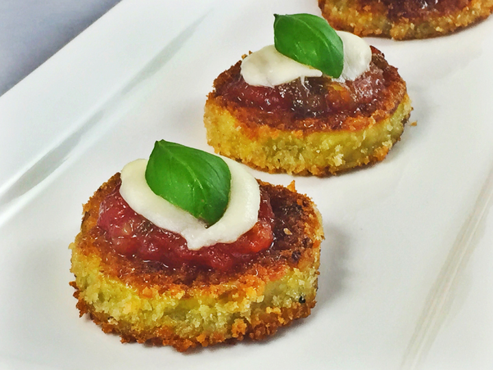 Eggplant Rounds with Spicy Ginger Tomato Jam, Mozzarella, and Fresh Basil