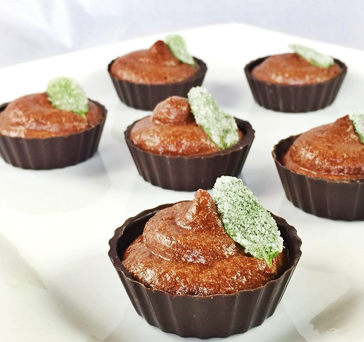 Bourbon Chocolate Mousse Cups With Candied Fresh Mint Leaves