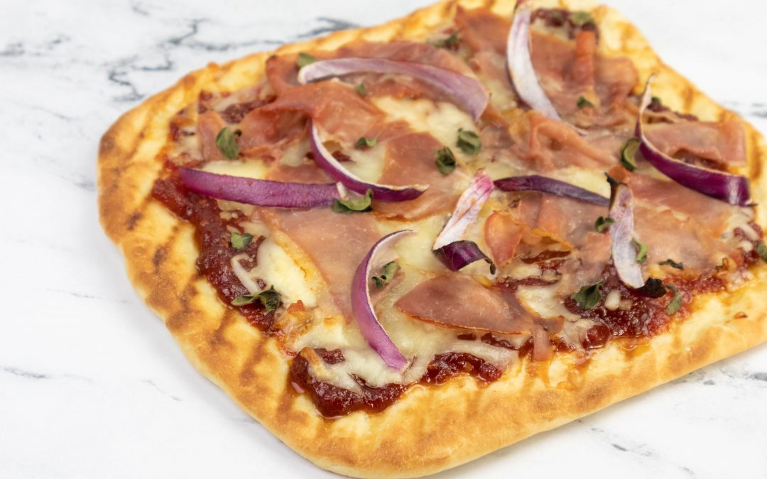 Tomato Jam, Red Onion, and Speck Grilled Pizza