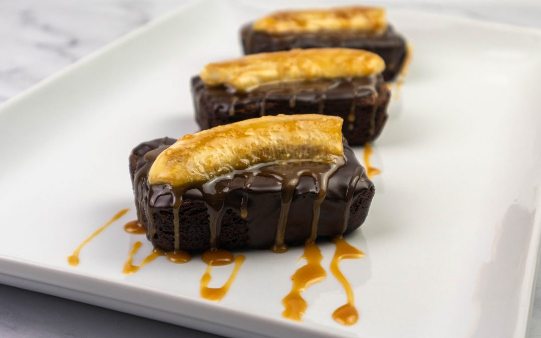 Chocolate Malt Brownies With Bananas & Caramel