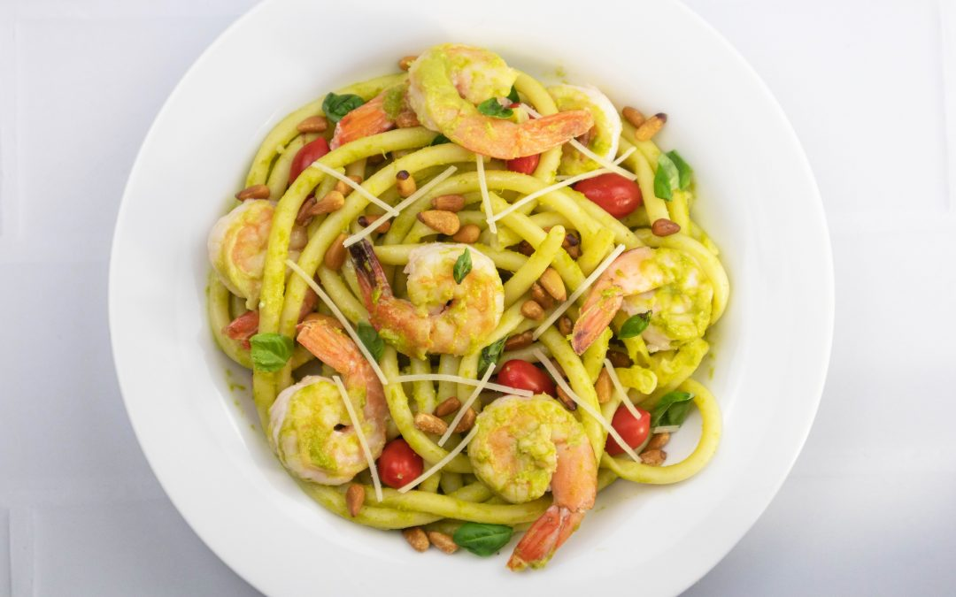 Shrimp With Garlic Scape Pesto, Tomatoes, Pine Nuts And Parmesan Cheese