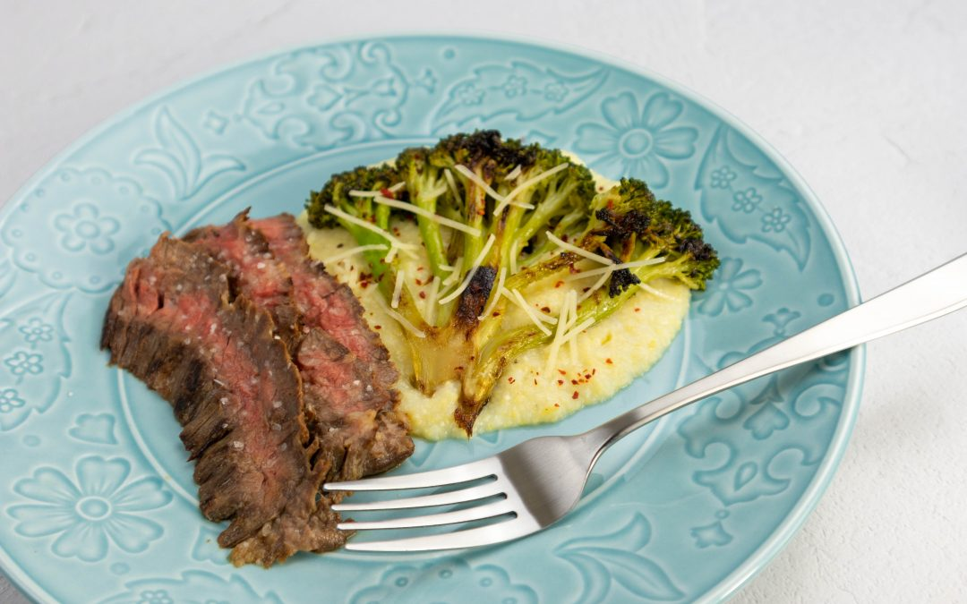 Charred Broccoli With Buttermilk Parmesan Grits