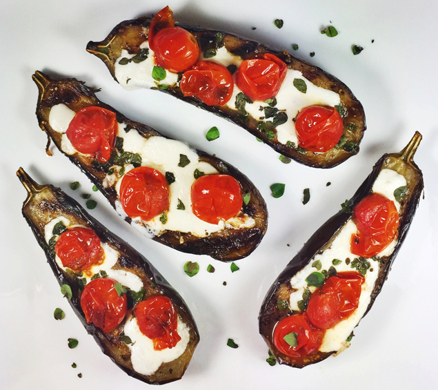 Grilled Baby Eggplant Halves With Fresh Mozzarella, Grilled Cherry Tomatoes,  and Oregano