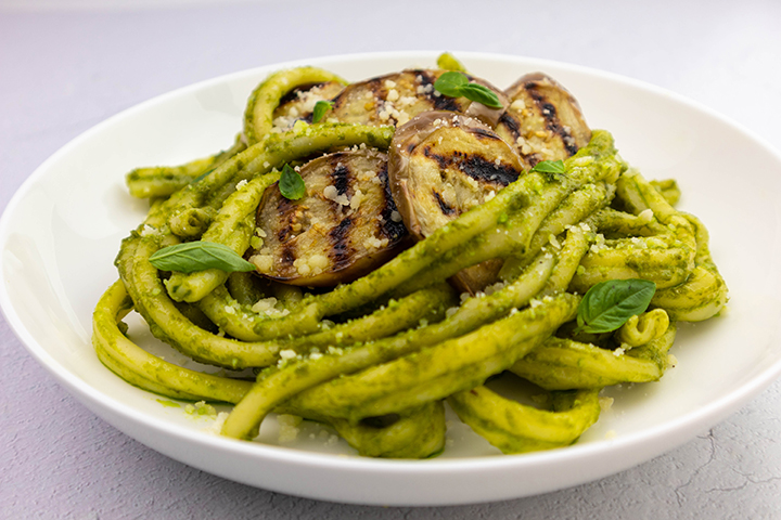 Grilled Eggplant with Basil Pesto and Pasta
