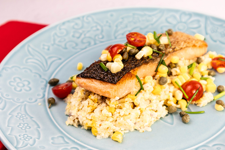 Sous Vide Salmon, Baked Corn & Cheese Grits with Caper Sauce