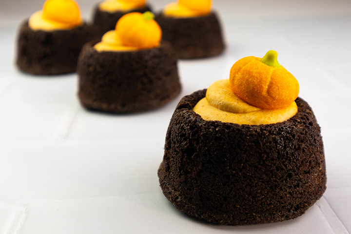 Chocolate Brownies with Pumpkin Mousse
